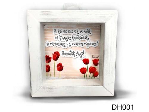 (DH001) Kicsi 3D Képkeret 11,2 cm x 11, 2 cm - Kedves szavak - Ajándékok Anyukáknak - Anyák napi ajándék ötletek