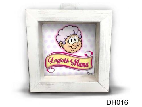 (DH016) Kicsi 3D Képkeret 11,2 cm x 11, 2 cm - Legjobb Mama - Ajándék Nagymamáknak