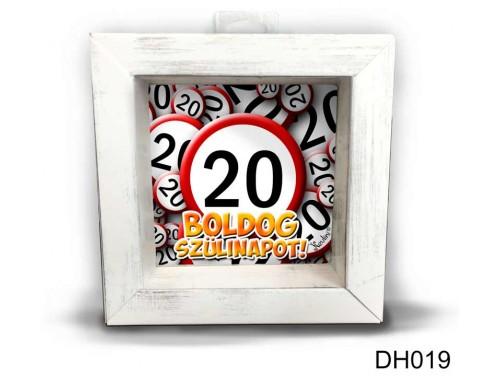 (DH019) Kicsi 3D Képkeret 11,2 cm x 11, 2 cm - Boldog 20 Szülinapot - Szülinapi ajándékok - Születésnapi Ajándék Ötletek