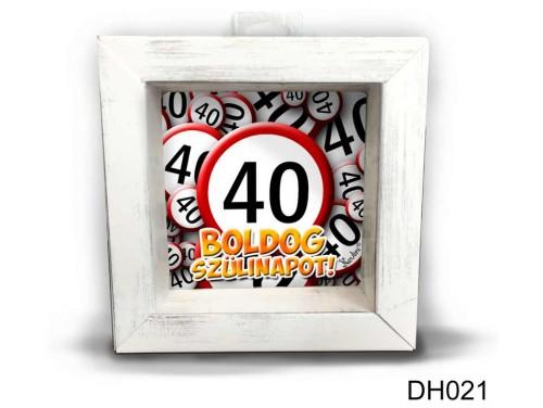 (DH021) Kicsi 3D Képkeret 11,2 cm x 11, 2 cm - Boldog 40 Szülinapot - Szülinapi ajándékok - Születésnapi Ajándék Ötletek
