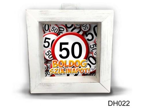 (DH022) Kicsi 3D Képkeret 11,2 cm x 11, 2 cm - Boldog 50 Szülinapot - Szülinapi ajándékok - Születésnapi Ajándék Ötletek