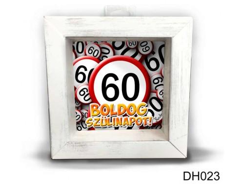 (DH023) Kicsi 3D Képkeret 11,2 cm x 11, 2 cm - Boldog 60 Szülinapot - Szülinapi ajándékok - Születésnapi ajándék ötletek