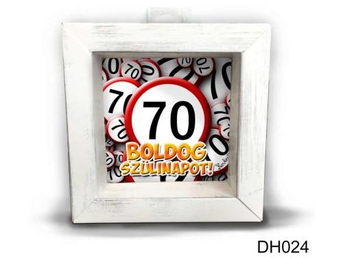 (DH024) Kicsi 3D Képkeret 11,2 cm x 11, 2 cm - Boldog 70. Szülinapot - Szülinapi ajándékok - Születésnapi Ajándék Ötletek