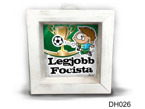 (DH026) Kicsi 3D Képkeret 11,2 cm x 11, 2 cm - Legjobb focista - Focis ajándékok
