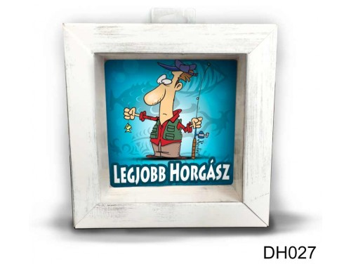 (DH027) Kicsi 3D Képkeret 11,2 cm x 11, 2 cm - Legjobb horgász - Ajándék horgászoknak