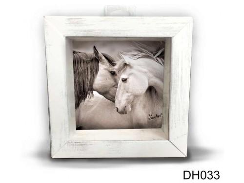 (DH033) Kicsi 3D Képkeret 11,2 cm x 11, 2 cm - Ló fej pár - Lovas Ajándék Ötletek