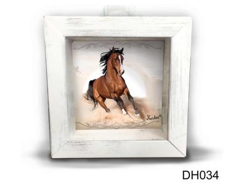 (DH034) Kicsi 3D Képkeret 11,2 cm x 11, 2 cm - Futó ló - Lovas Ajándék ötletek