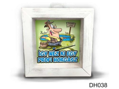 (DH038) Kicsi 3D Képkeret 11,2 cm x 11, 2 cm - Profi Horgász - Ajándék Horgászoknak
