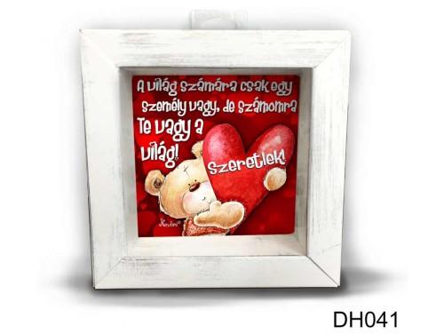 (DH041) Kicsi 3D Képkeret 11,2 cm x 11, 2 cm - A világ számára - Valentin napi ajándékok - Szerelmes Ajándékok