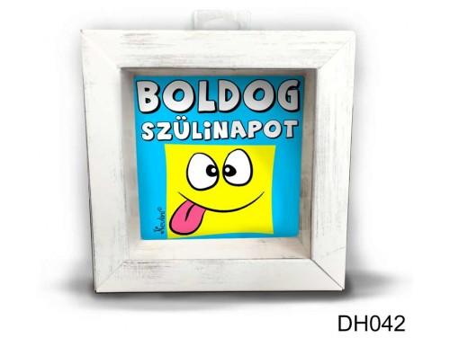 (DH042) Kicsi 3D Képkeret 11,2 cm x 11, 2 cm - Boldog Szülinapot kék - Szülinapi Ajándékok - Születésnapi ajándék ötletek