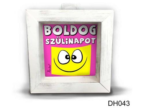 (DH043) Kicsi 3D Képkeret 11,2 cm x 11, 2 cm - Boldog Szülinapot rózsaszín - Szülinapi Ajándékok