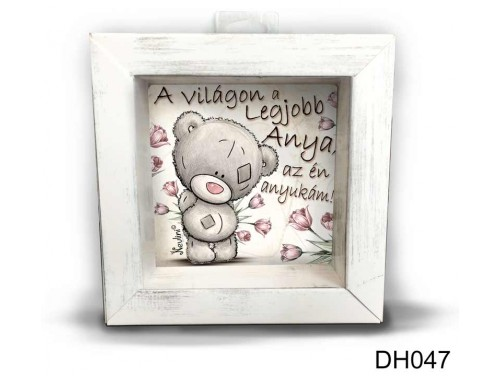 (DH047) Kicsi 3D Képkeret 11,2 cm x 11, 2 cm - A világon a legjobb anya - Ajándék Anyáknak - Anyákk Napi Ajándékok