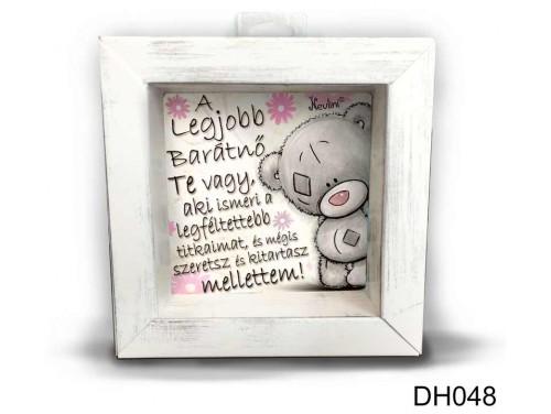 (DH048) Kicsi 3D Képkeret 11,2 cm x 11, 2 cm - A legjobb barátnő - Ajándék Ötletek Barátnőnek