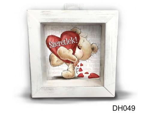 (DH049) Kicsi 3D Képkeret 11,2 cm x 11, 2 cm - Szeretlek szavakkal - Szerelmes ajándékok - Valentin napi ajándékok