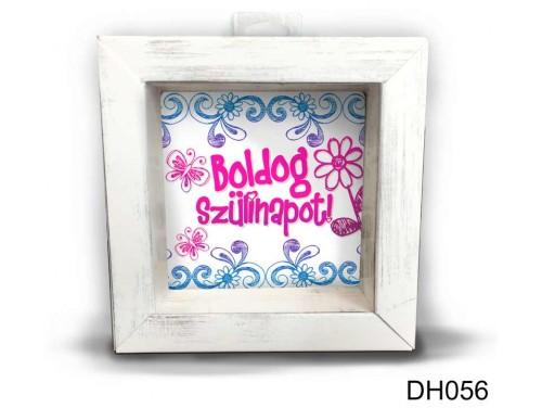 (DH056) Kicsi 3D Képkeret 11,2 cm x 11, 2 cm - Pillangós Boldog Szülinapot - Szülinapi Ajándékok