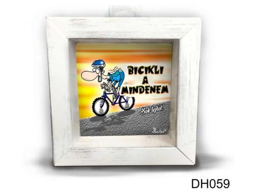 (DH059) Kicsi 3D Képkeret 11,2 cm x 11, 2 cm - Biciklizés a mindenem - Biciklis Ajándékok