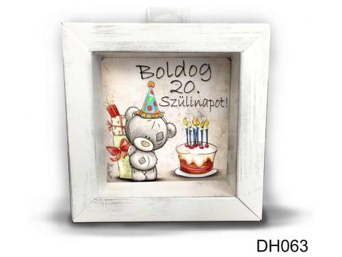 (DH063) Kicsi 3D Képkeret 11,2 cm x 11, 2 cm - Boldog 20. Szülinapot - Születésnapi Ajándék Ötletek