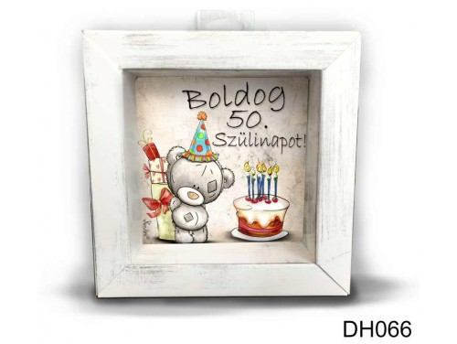 (DH066) Kicsi 3D Képkeret 11,2 cm x 11, 2 cm - Boldog 50 Szülinapot - Szülinapi Ajándék Ötletek