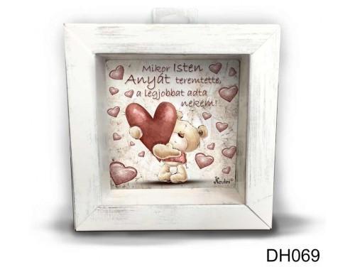 (DH069) Kicsi 3D Képkeret 11,2 cm x 11, 2 cm - Mikor Isten Anyát - Ajándék Anyáknak - Anyák napi ajándékok