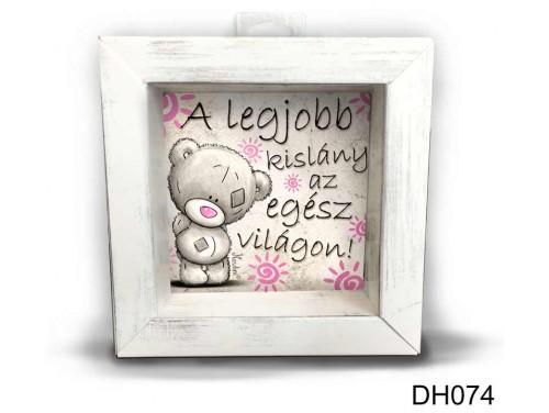 (DH074) Kicsi 3D Képkeret 11,2 cm x 11, 2 cm - A legjobb kislány - Ajándék Gyerekeknek