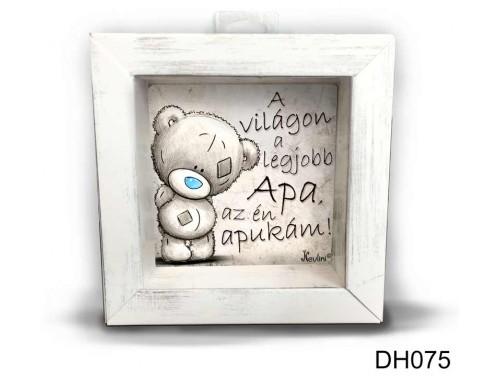 (DH075) Kicsi 3D Képkeret 11,2 cm x 11, 2 cm - A világon a legjobb apa - Ajándék Apák Napjára - Ajándék Apáknak