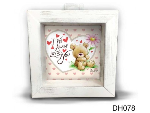 (DH078) Kicsi 3D Képkeret 11,2 cm x 11, 2 cm - I will always love you - Szerelmes ajándékok - Valentin napi ajándékok