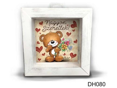 (DH080) Kicsi 3D Képkeret 11,2 cm x 11, 2 cm - Szeretlek maci fiús - Szerelmes ajándékok - Valentin napi ajándékok