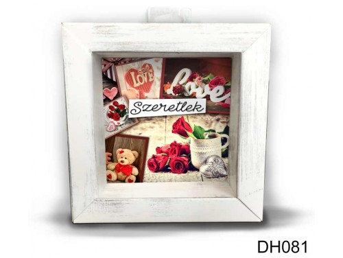 (DH081) Kicsi 3D Képkeret 11,2 cm x 11, 2 cm - Love love love - Szerelmes ajándékok - Valentin napi ajándékok