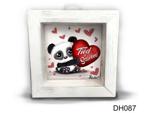 (DH087) Kicsi 3D Képkeret 11,2 cm x 11, 2 cm - Tiéd a szívem - Szerelmes Ajándékok - Valentin napi ajándékok