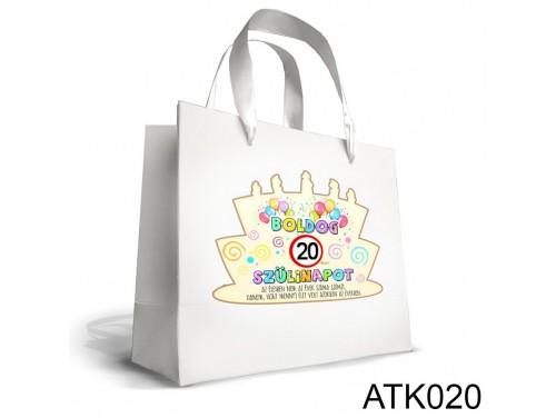 (ATK020) Kicsi Dísztasak 18cm x 21cm - Boldog 20 Szülinapot - Ajándék Születésnapra