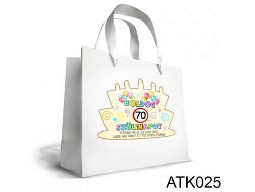 (ATK025) Kicsi Dísztasak 18cm x 21cm - Boldog 70 Szülinapot - Ajándék Születésnapra