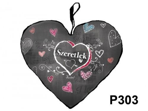 (P303) Párna Nagy Szív 45cm - Szeretlek Krétás - Valentin Napi Ajándékok - Szerelmes Ajándékok