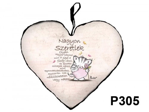 (P305) Párna Nagy Szív 45cm - Szeretlek Cica - Valentin Napi Ajándékok - Szerelmes Ajándékok