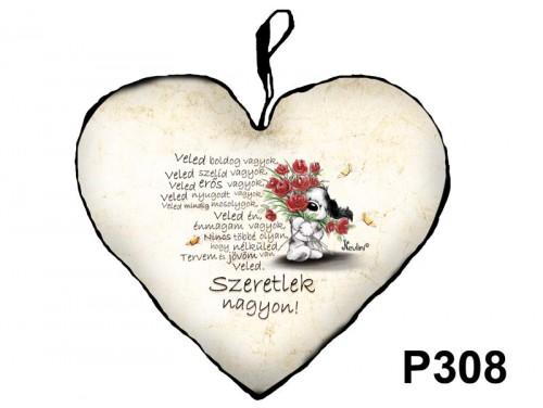 (P308) Párna Nagy Szív 45cm - Veled Boldog Vagyok - Valentin Napi Ajándékok - Szerelmes Ajándékok