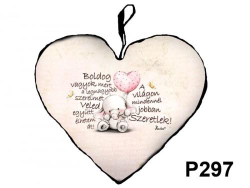 (P297) Párna Kis Szív 25cm - Boldog Vagyok - Valentin Napi Ajándékok - Szerelmes Ajándékok