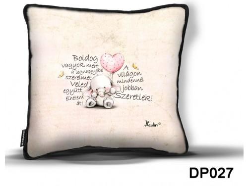 (DP027) Díszpárna 26 cm x 26 cm - Boldog Vagyok - Valentin Napi Ajándékok - Szerelmes Ajándékok