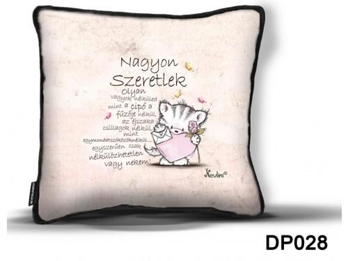 (DP028) Díszpárna 26 cm x 26 cm - Nagyon Szeretlek cica - Valentin Napi Ajándékok - Szerelmes Ajándékok