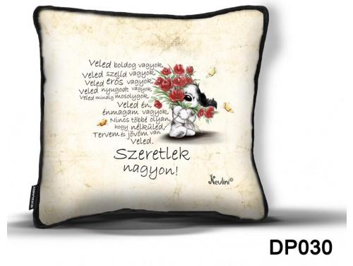 (DP030) Díszpárna 26 cm x 26 cm - Veled Boldog - Valentin Napi Ajándékok - Szerelmes Ajándékok