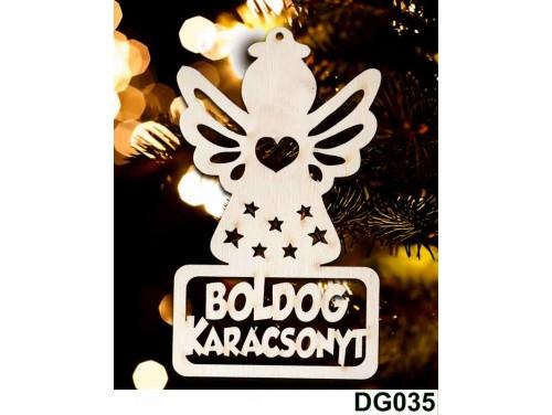 (DG035) Karácsonyi Díszgömb - Boldog Karácsonyt Angyal – Karácsonyfa díszek – Karácsonyi ajándék ötletek