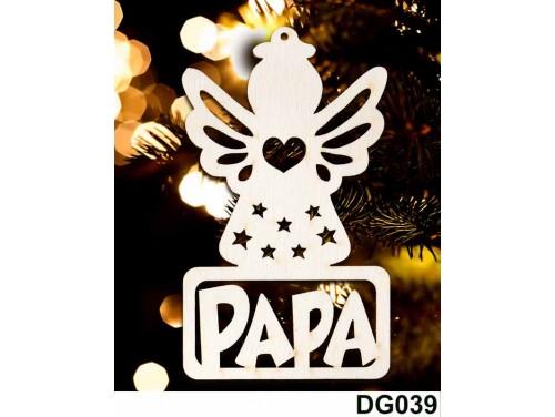 (DG039) Karácsonyi Díszgömb - Papa Angyal – Karácsonyfa díszek – Karácsonyi ajándék ötletek