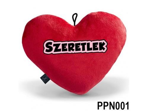 (PPN001) Plüss Szív Párna Nagy 43x35cm Piros - Szeretlek - Valentin Napi Ajándékok