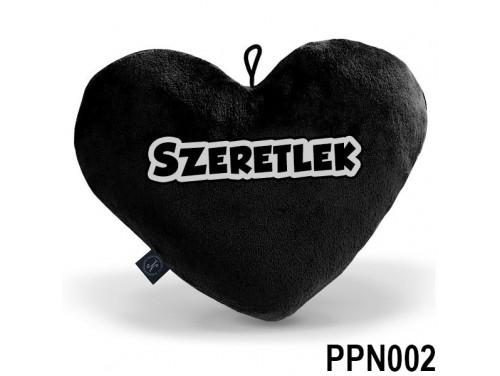 (PPN002) Plüss Szív Párna Nagy 43x35cm Fekete - Szeretlek - Valentin Napi Ajándékok