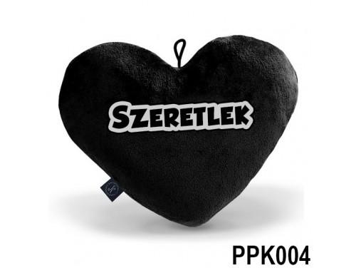 (PPK002) Plüss Szív Párna Kicsi 25x21cm Fekete - Szeretlek - Valentin Napi Ajándékok