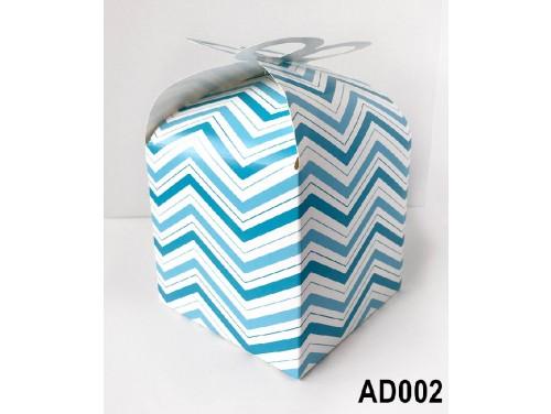 (AD002) Ajándék doboz 14x11x11 cm - Kék csíkos doboz - Ajándék Csomagolás Ötletek