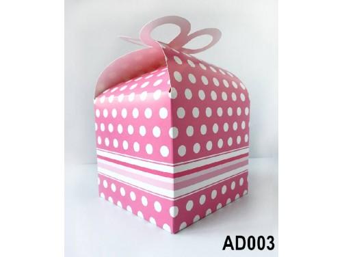 (AD003) Ajándék doboz 14x11x11 cm - Rózsaszín pöttyös doboz - Ajándék Csomagolás Ötletek