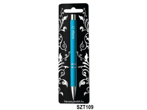 (SZT109) Gravírozott szines golyóstoll 13,6 cm - Kolléga - Ajándék Kollégának