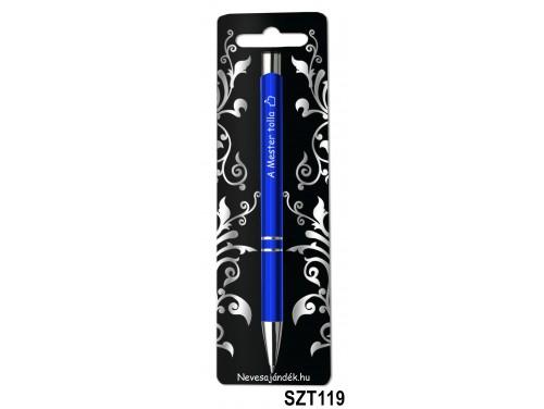 (SZT119) Gravírozott szines golyóstoll 13,6 cm - A Mester tolla - Ajándék Férfiaknak