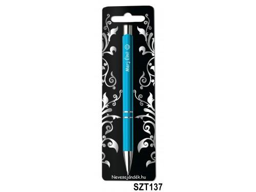 (SZT137) Gravírozott szines golyóstoll 13,6 cm - Merj Élni! feliratú gravírozott toll - Ajándék Férfiaknak