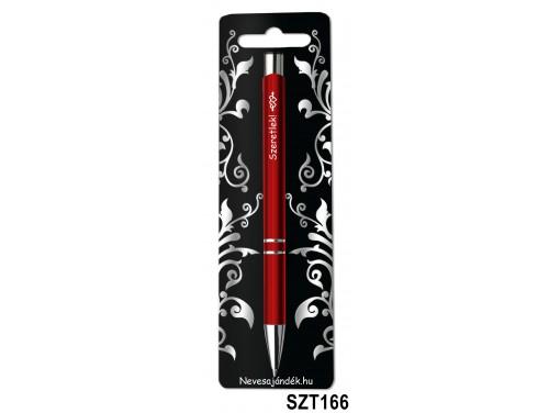 (SZT166) Gravírozott szines golyóstoll 13,6 cm - Szeretlek - Valentin napi ajándékok