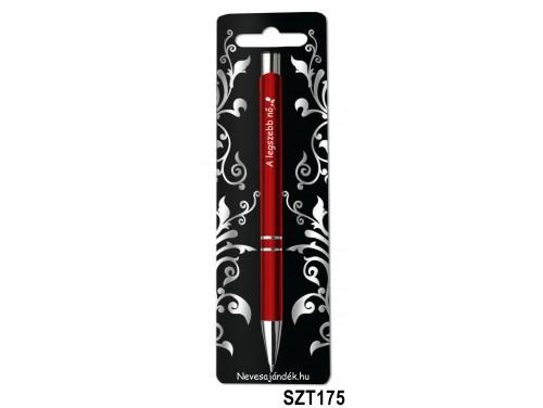 (SZT175) Gravírozott szines golyóstoll 13,6 cm - A legszebb nő - Valentin napi ajándékok